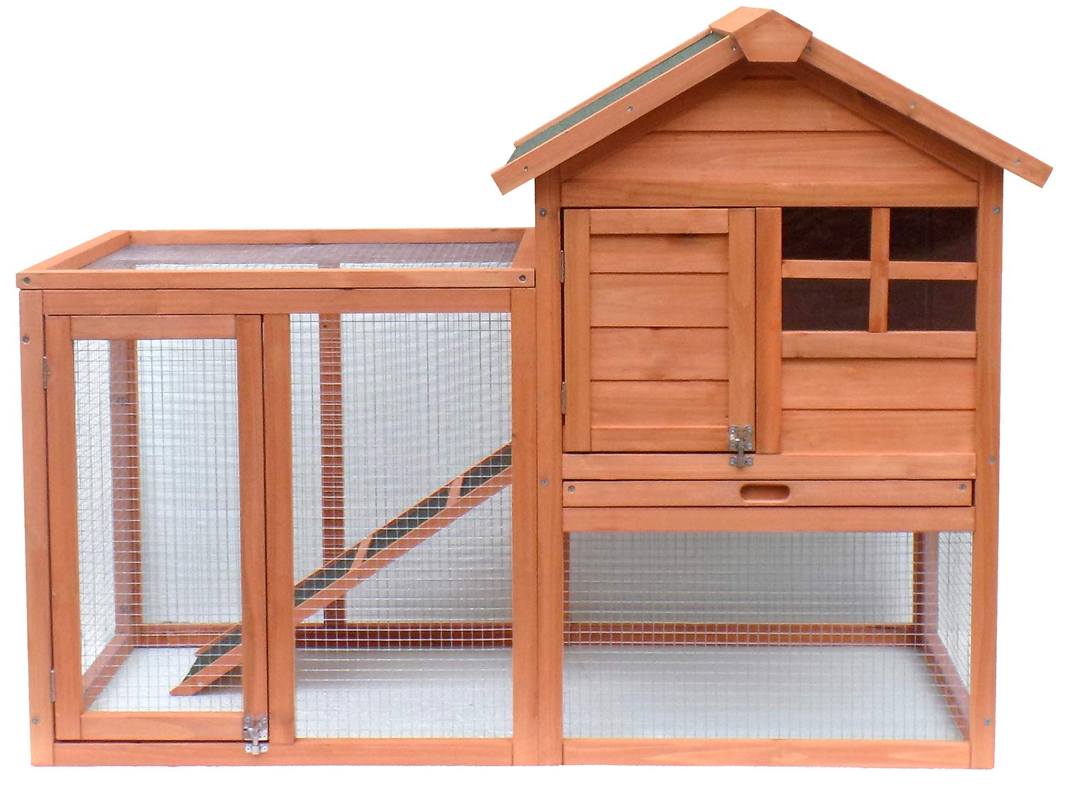 Danxee Two Floors 49'' Outdoor Indoor Roof Waterproof Bunny Hutch Guinea Pig Coop Pet Rabbit Hutch Wooden House for Small to Medium Animals with Stairs and Cleaning Tray (Natural Wood) by Danxee