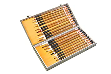 Abacus Calligrafica: set de 20 piezas de pinceles tradicionales de caligrafía china/pintura sumi-e con puntas de varios colores y caja de regalo ...