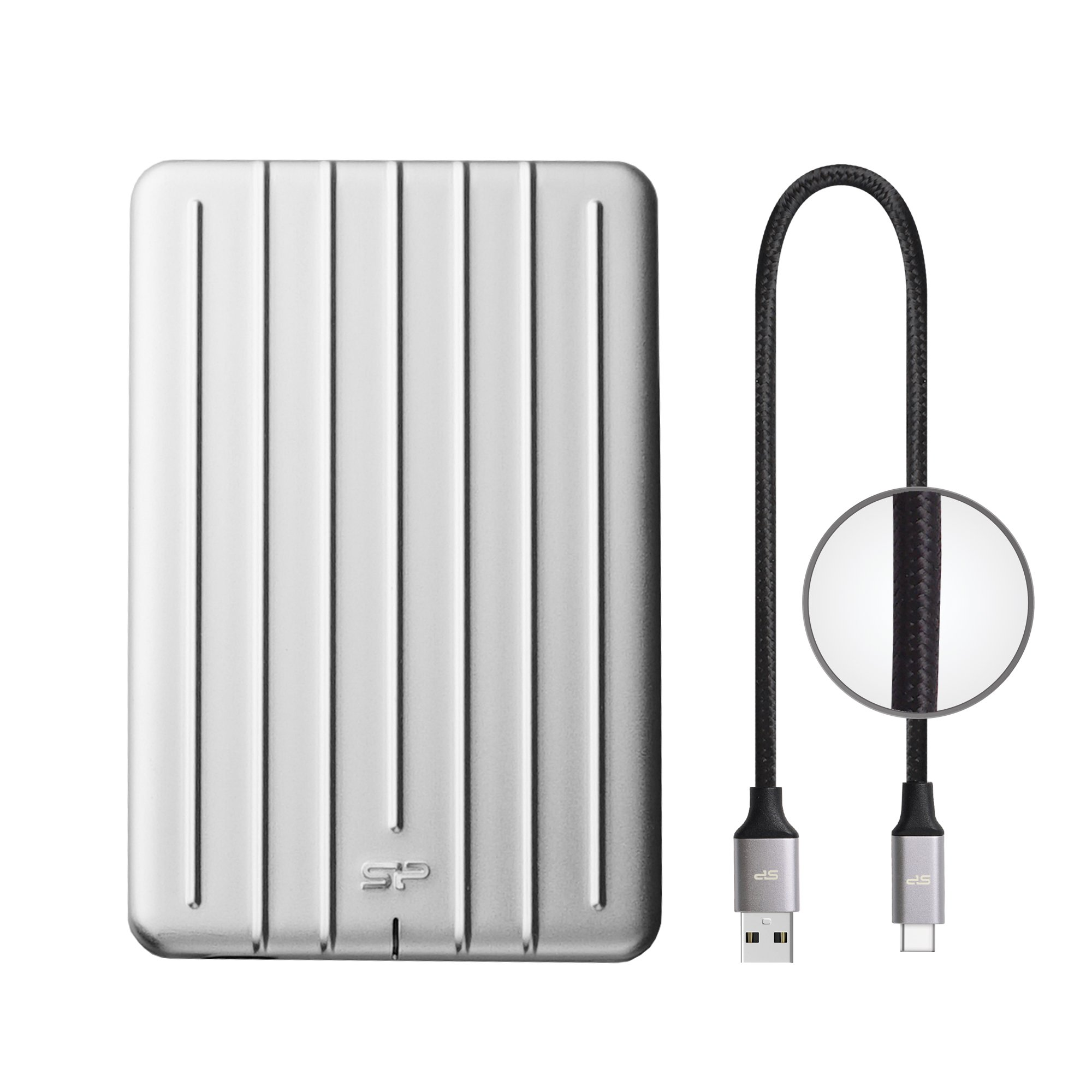 Silicon Power SU010TBPHDA75S3SAE 1TB Ultra Slim Rugged Armor A75 Shockproof USB 3.0 (USB 3.1 Gen 1) 2.5'' Portable External Hard Drive, Silver by Silicon Power (Image #1)
