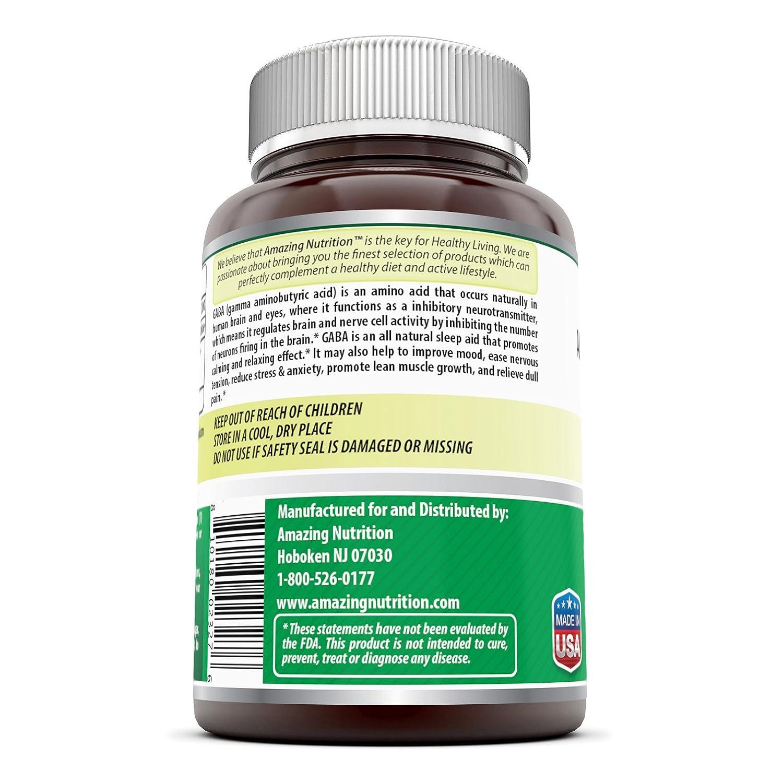 Amazing Nutrition Gaba ( Gamma Aminobutyric Acid) 750 Mg, 100 Capsules