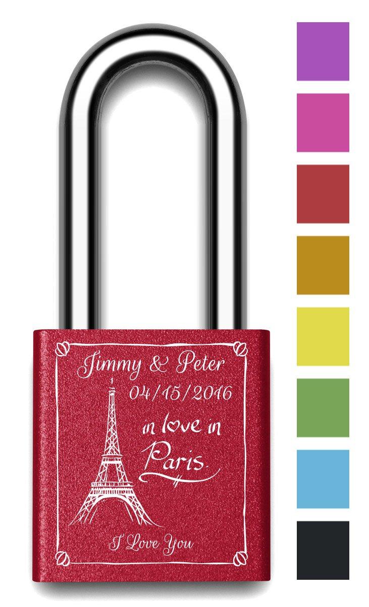 Customizable MakeLoveLocks - In Love In Paris Love Lock 2'' Red