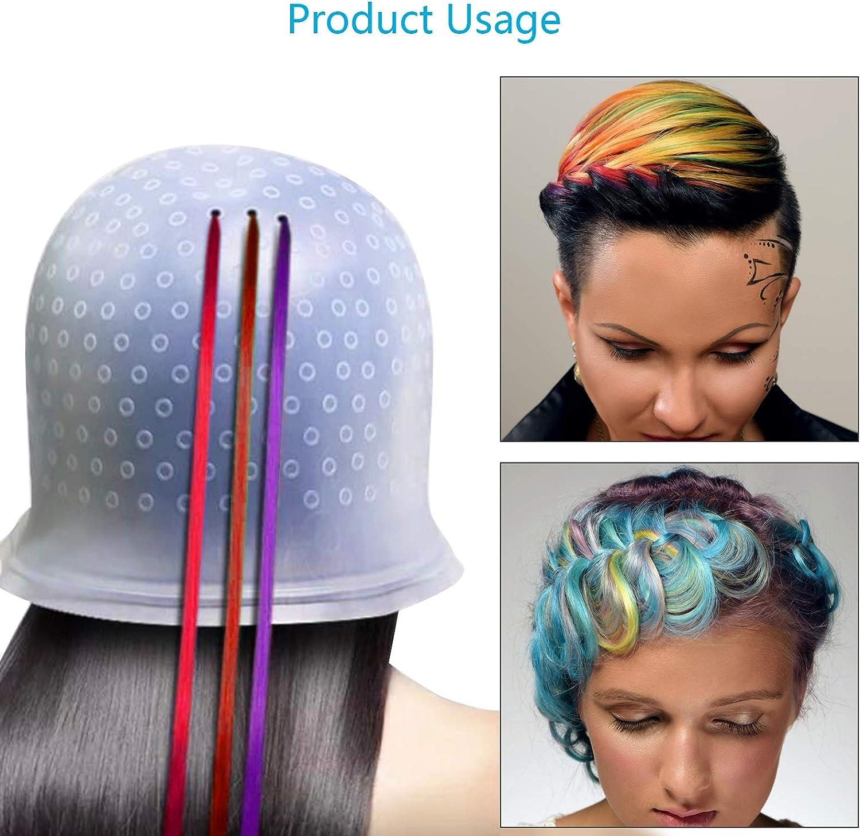 Gorro Mecha Silicona CHIFOOM - Tapones para Teñir el Cabello con Highlight Caps para Colorear, con 2 Cepillos de Pelo para Barbería, Modelado de ...