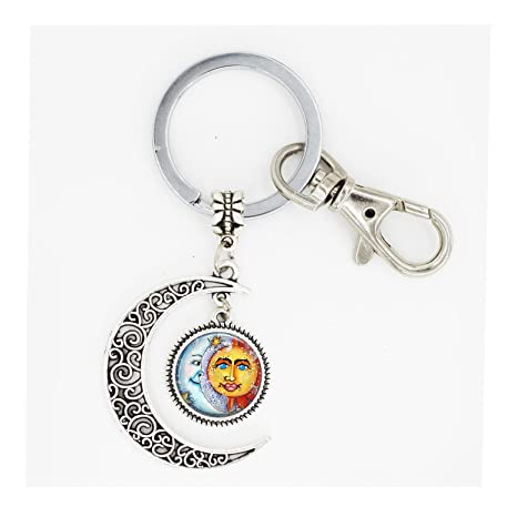 glasstile luna llena llavero llavero con diseño de sol y ...