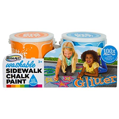 RoseArt Washable Sidewalk Chalk Paint 2ct Glitter ORN/blu: Toys & Games