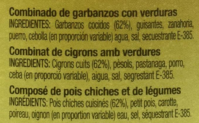 Gourmet - Garbanzo con verduras - 400 g - , Pack de 6: Amazon.es ...