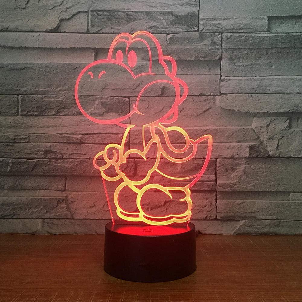 3D Night Light Yoshi Mario 3D L/ámpara Led Juego De Dibujos Animados Figura S/úper Acr/ílico Novedad Navidad Iluminaci/ón Regalo Touch Control Remoto Juguetes