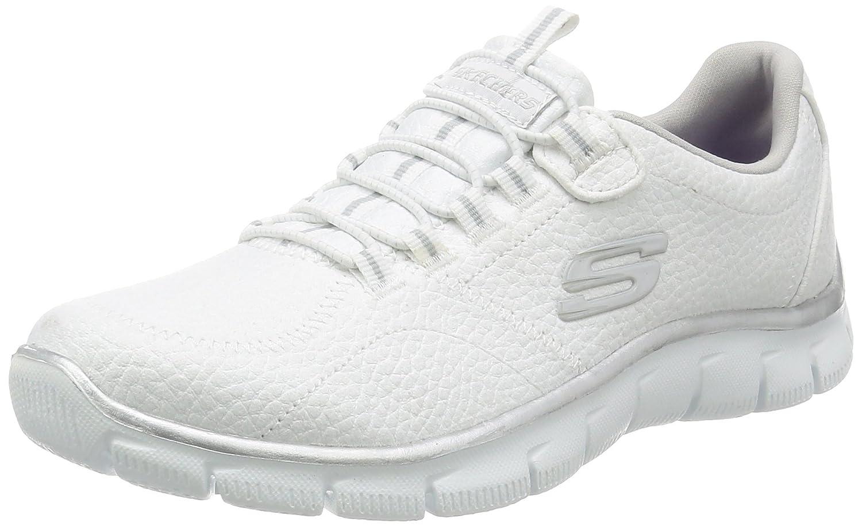 Skechers Damen Empire Take Charge Sneaker, Schwarz  38.5 EU White Silver