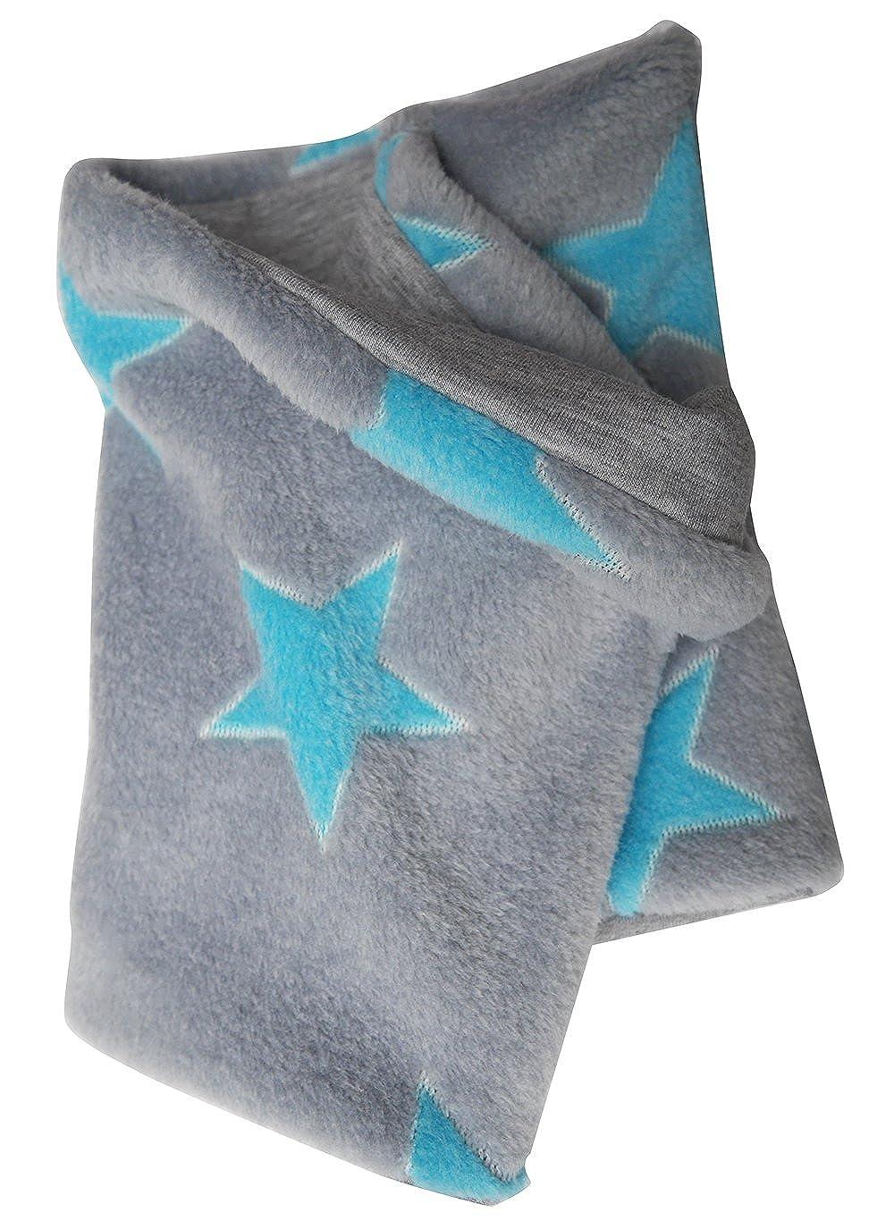 Wollhuhn Warmes Halstuch, Schlupfschal, Schal in grau mit helltürkisen Sternen für Jungen und Mädchen, Wellnessfleece, 20151206