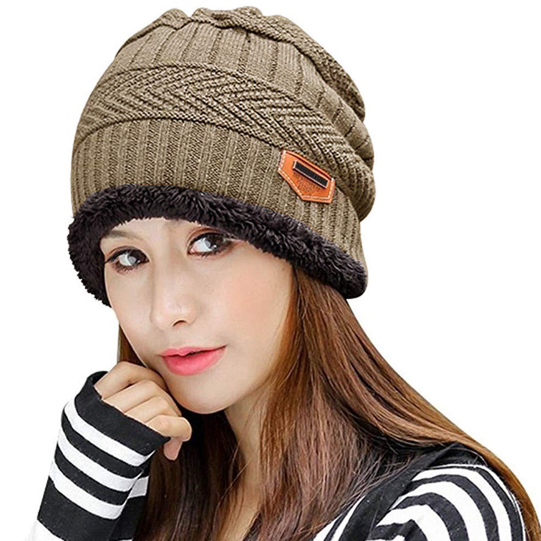 Muryobao Thick Warm Winter Beanie Hat Slouchy Skully Knit Hats Soft Stretch Ribbed Cap for Women Snow Ski Khaki
