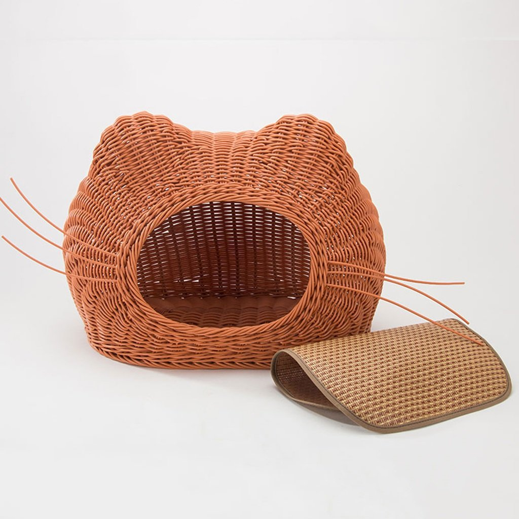 Brown 3525cmKennels Rattan cat litter summer enclosed cat house cat bed pet bed doghouse kitty supplies cool four seasons universal (color   Beige, Size   35  25cm)