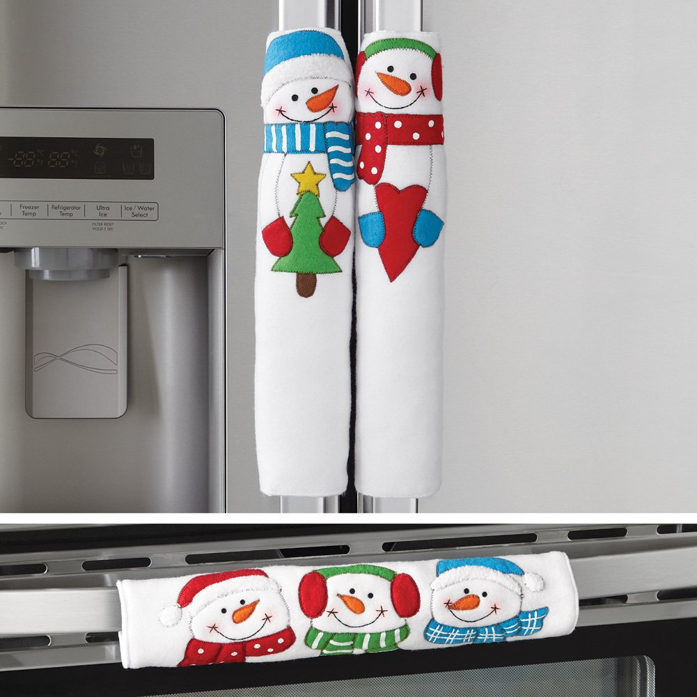 Collections Etc Happy Winter Snowman Appliance Handle Covers - Set of 3