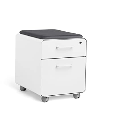 Gentil Poppin White Mini Stow File Cabinet With Casters And Pad, White