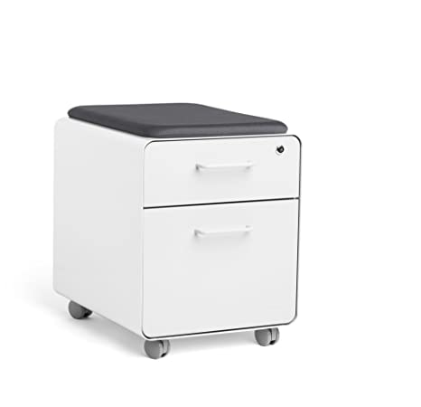 Superb Poppin White Mini Stow File Cabinet With Casters And Pad White Download Free Architecture Designs Grimeyleaguecom