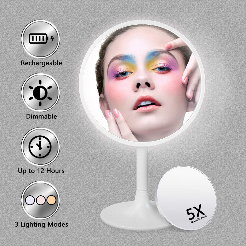 Lighted Makeup Mirror, 3 Color Dimmable Vanity Mirror with 1X/5X Magnification, Rechargeable Led Cosmetics Mirror Portable with Touch Screen, 120 Degree Rotation