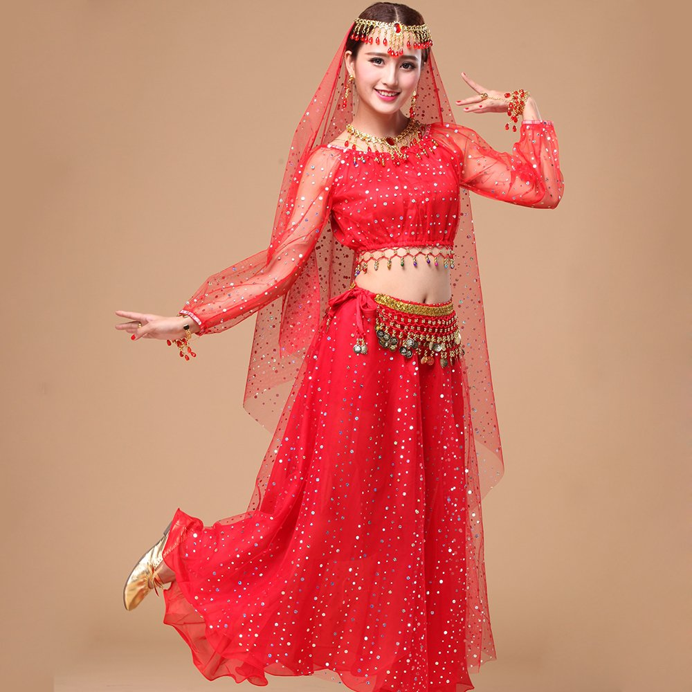Professional Lady Belly Dance Costumes Sets Indian Dance Dress Performance Dress NET Cloth Highlights Red 5-Piece Set