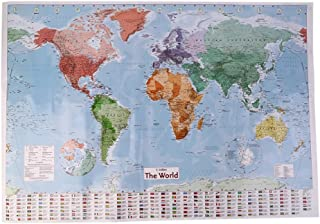 YTYC Multicolor 97.5 X 67.5 Large World Map English French Wall Chart Teaching Poster