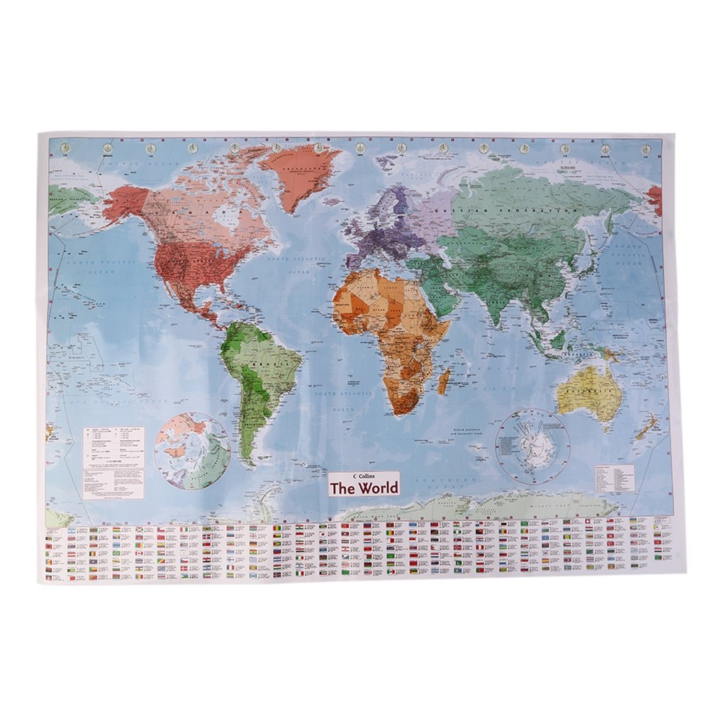 Ulable Multicolor 97.5 X 67.5 Large World Map English French Wall Chart Teaching Poster