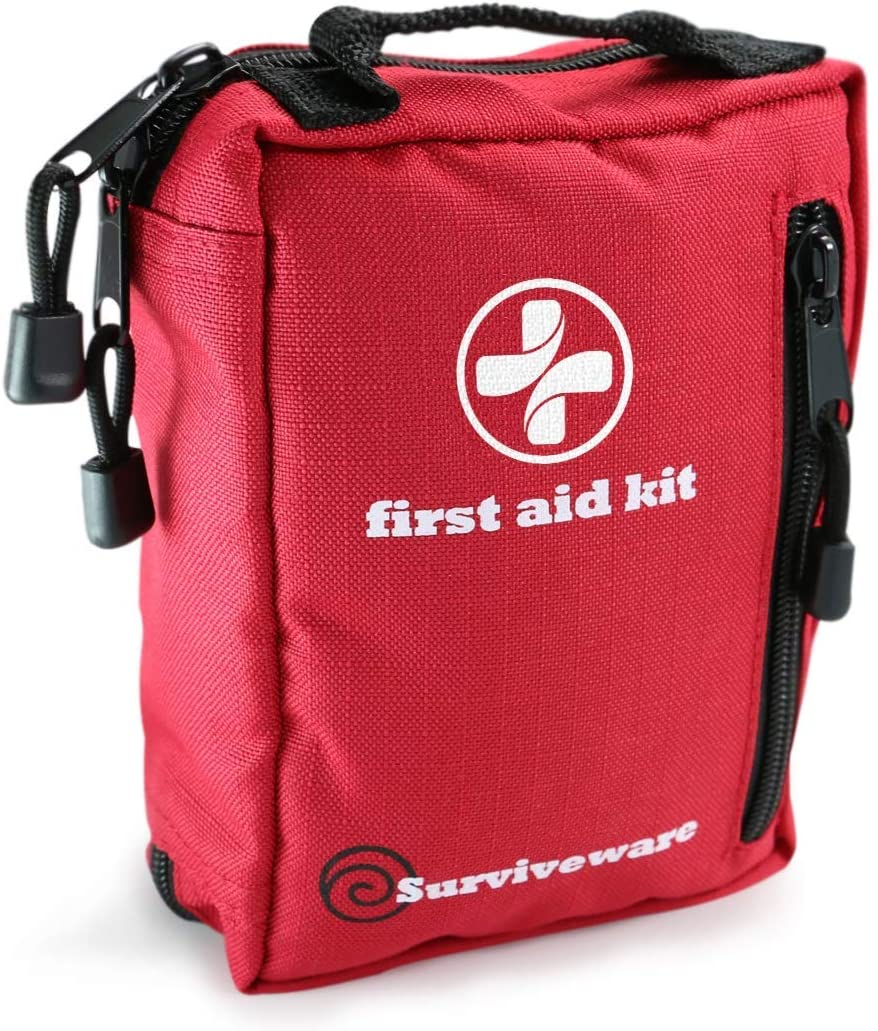 Surviveware Small First Aid Kit with Labelled Compartments for Hiking, Backpacking, Camping, Travel, Car and Cycling. : Sports & Outdoors