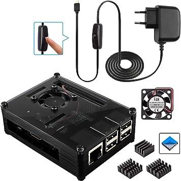 Para Raspberry Pi 3 b+ Caja + Cargador con Conector ON / OFF + 3 x ...