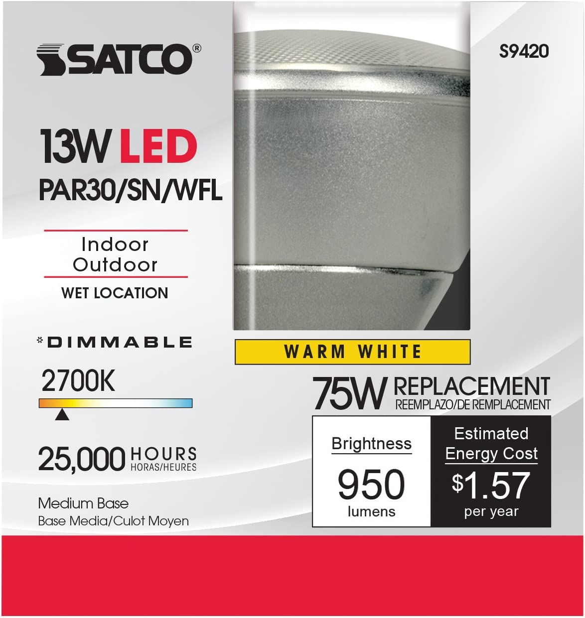 12-Pack Satco S9417 13PAR30//SN//LED//40//3500K//120V//D 13W PAR30 Short Neck Indoor//Outdoor Dimmable LED 40/° Flood lamp 3500K