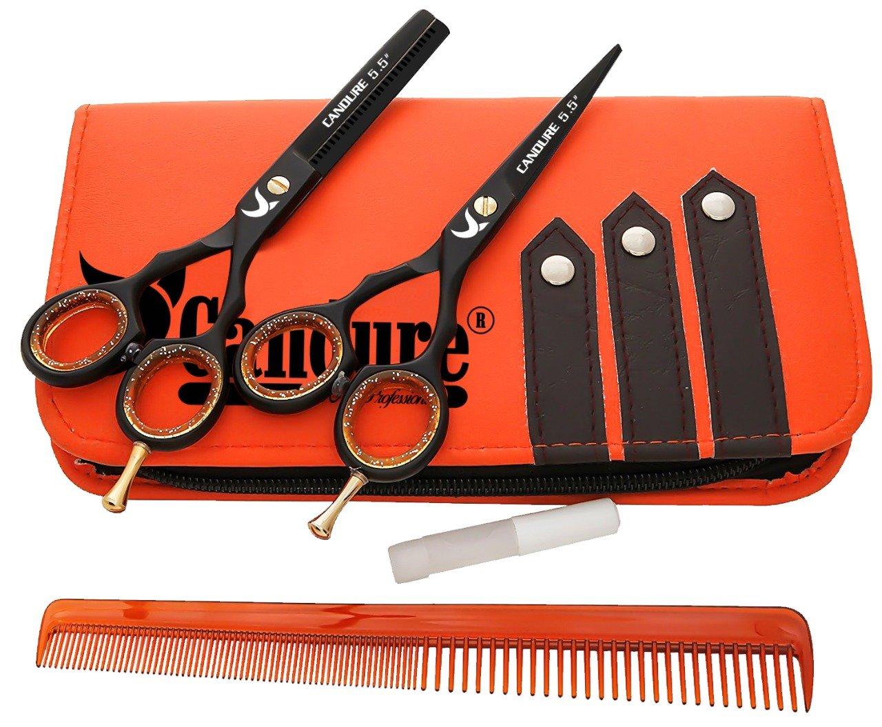 """CANDURE Ciseaux de coiffure Barber Salon de coupe de cheveu Noir Vis éclaircie. 5.5"""" product image"""