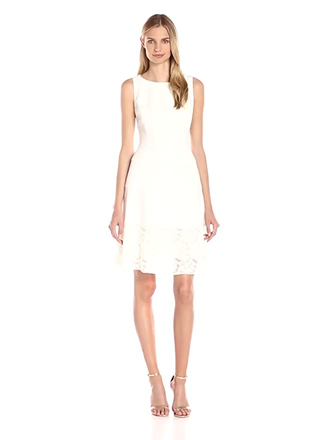 9c43545abb7 Anne Klein Women s Crepe Lace Combo Fit-and-Flare Dress at Amazon Women s  Clothing store