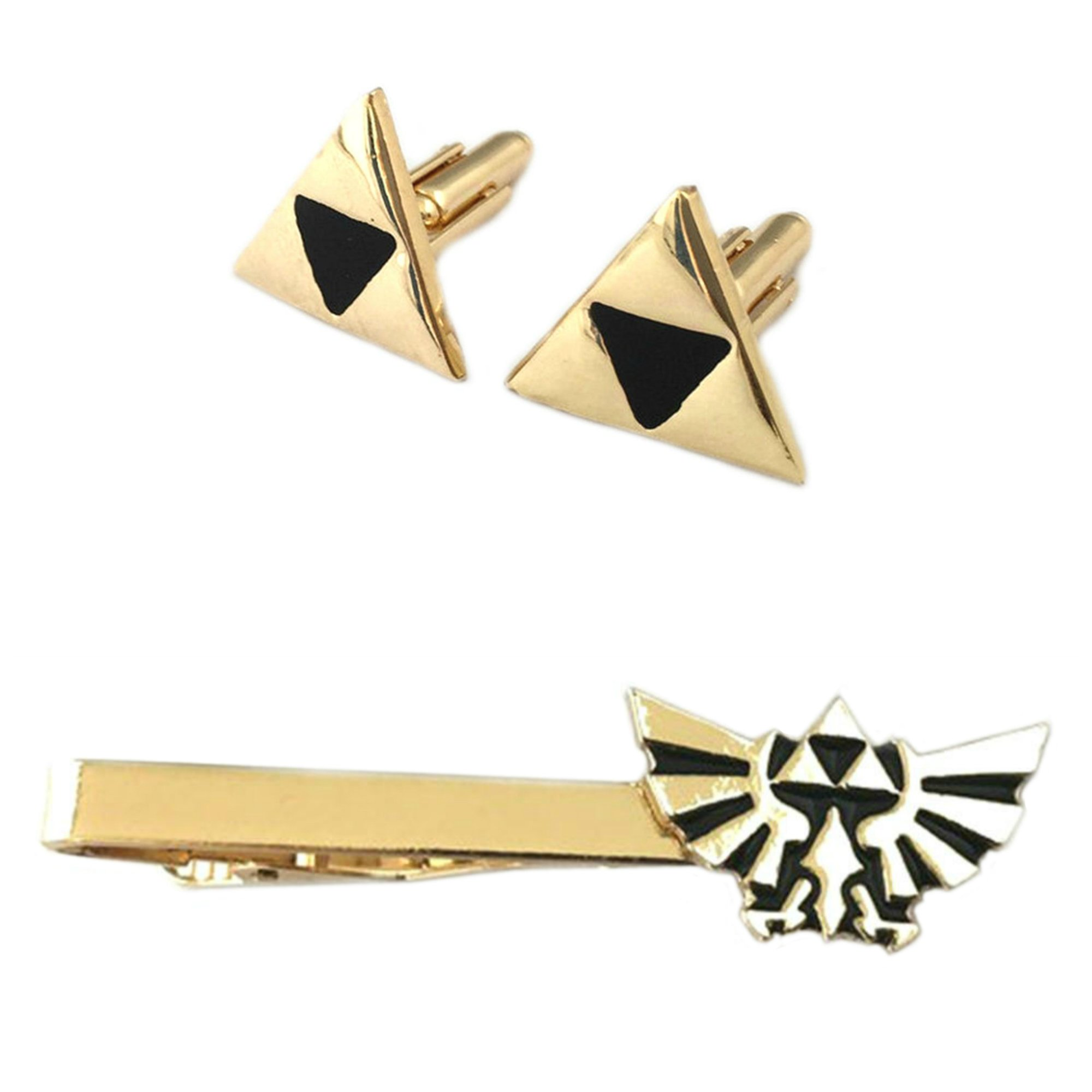 Outlander Legend of Zelda Triforce Cufflink & Hyrule Tiebar - New 2018 Superhero Games - Set of 2 Wedding Logo w/Gift Box