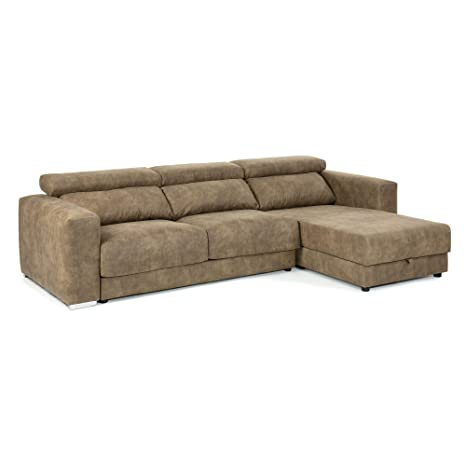 Kave Home Sofá Atlanta Chaise Longue marrón Pardo: Amazon.es ...