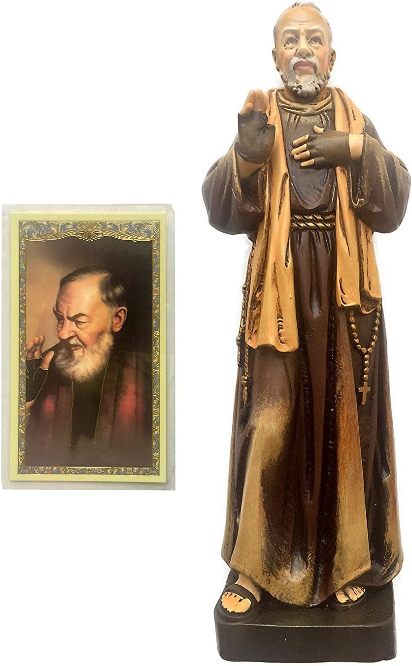 """Elysian Gift Shop Catholic 8"""" Saint Padre Pio Statue by Toscana Milagros- Avalon Gallery Collection Figure of Patrons and Protector with St. Pio Laminated Prayer Card Included"""