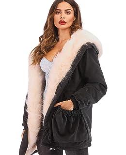 91dcb821a58 Roiii Women's Winter Thicken Faux Fur Hooded Plus Size Parka Jacket Coat  Size S-3XL