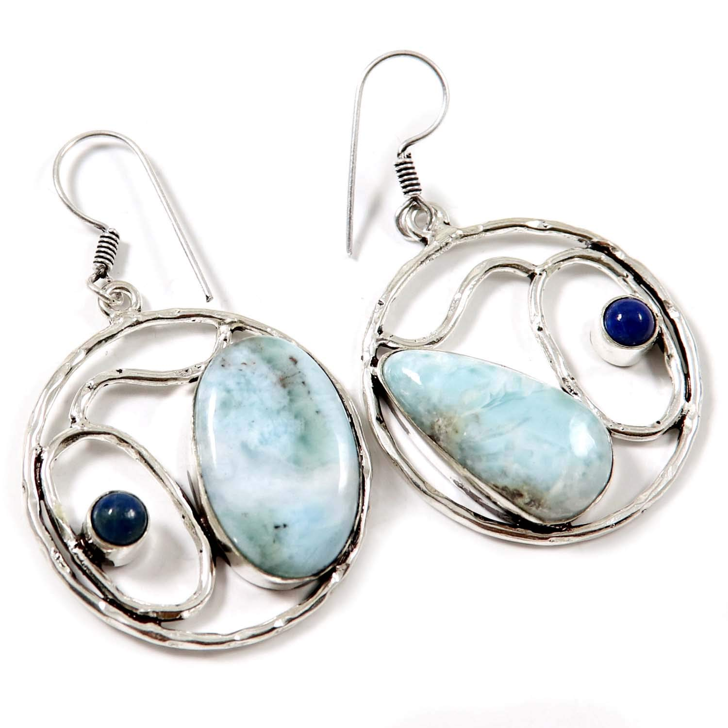 Goyal Crafts Larimar Natural Gemstone Earring Silver Plated Jewelry GEG66