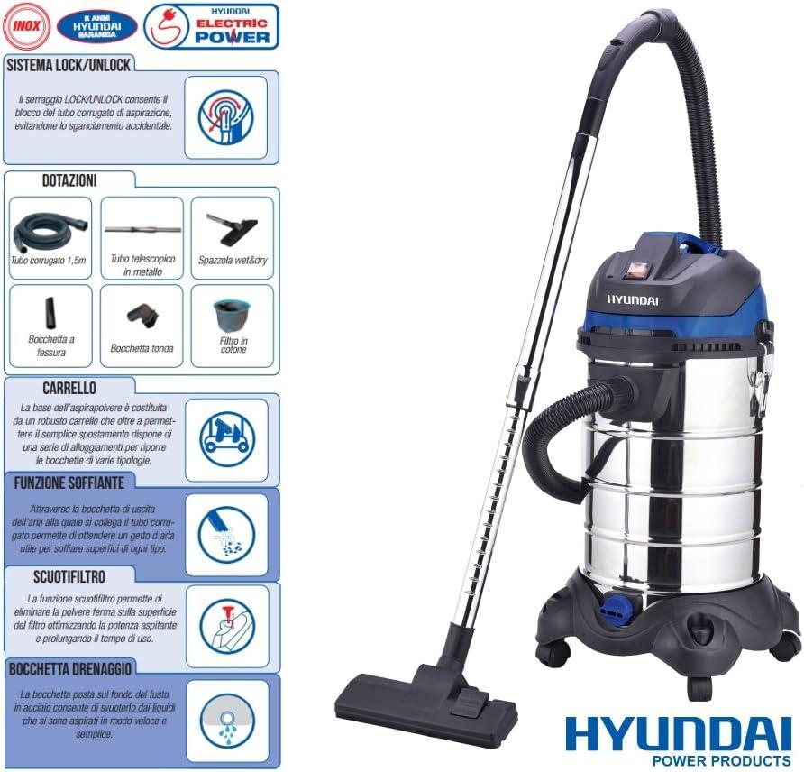 Aspirador/aspiradora/ASPIRATUTTO sólidos y líquidos 1200 W 30lt. Hyundai – 45030: Amazon.es: Hogar