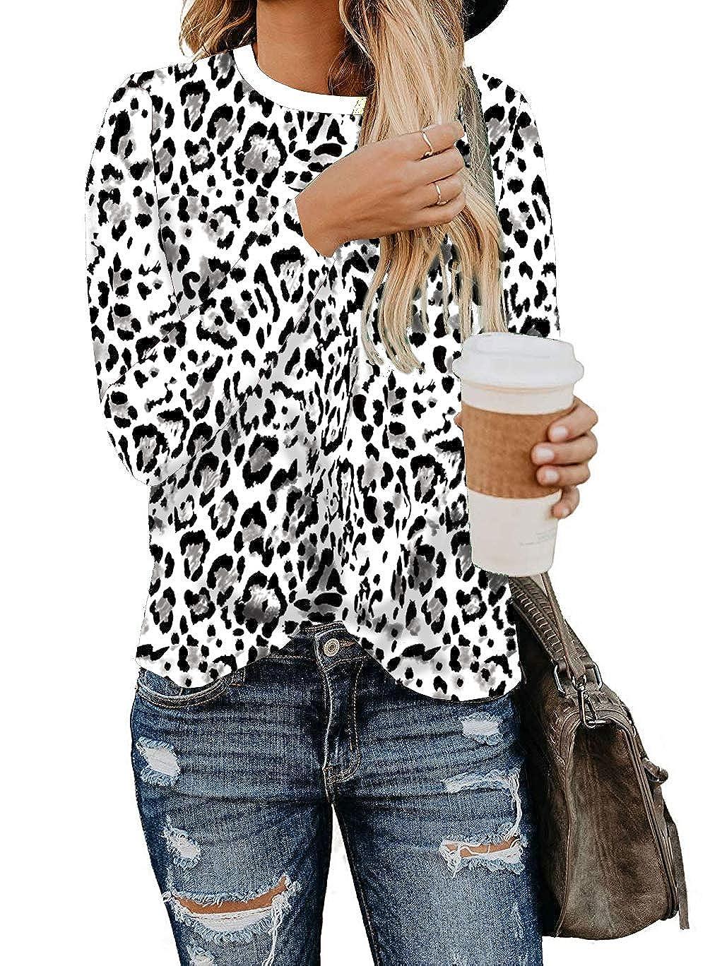 BTFBM Womens Leopard Print Long Sleeve Crew Neck Fit Casual Sweatshirt Pullover Tops Shirts