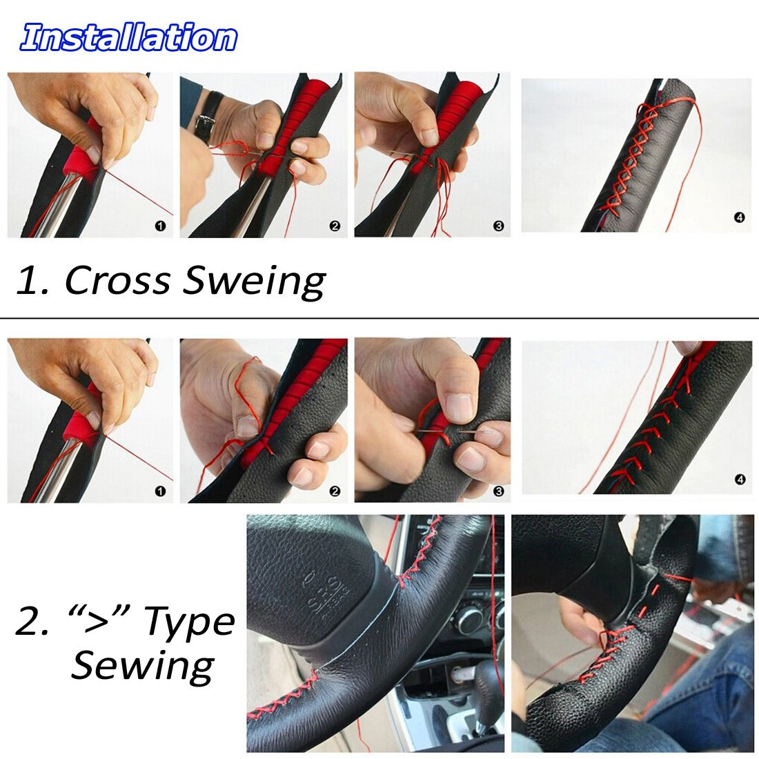 Size M, Red and Black AULLY PARK Universal Car Steering Wheel Cover Genuine Leather Stitch On Wrap