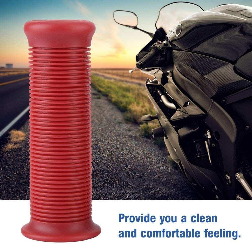 Heitune Pair Of 1inch 25mm Universal Motorcycle Vintage TPU Handle Handlebar Grip Red