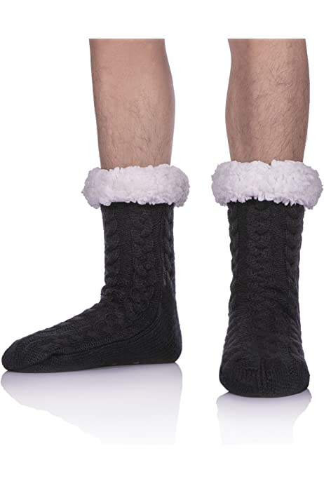 Mens Super Soft Warm Cozy Fuzzy Fleece-lined Winter Christmas gift With Grips Slipper socks