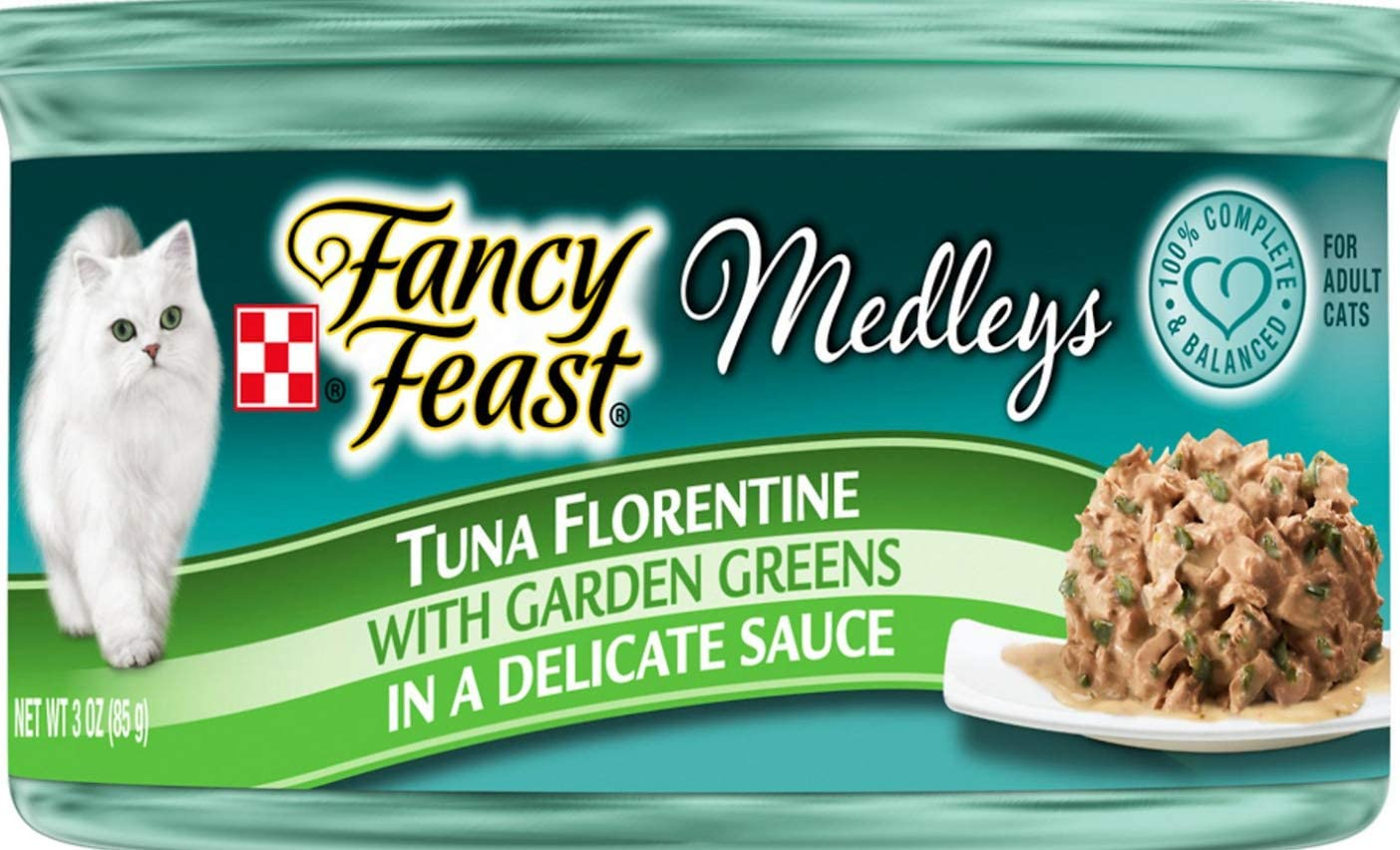 Purina 30 Cans of Fancy Feast Medleys Tuna Florentine Canned Cat Food, 3-oz, ea