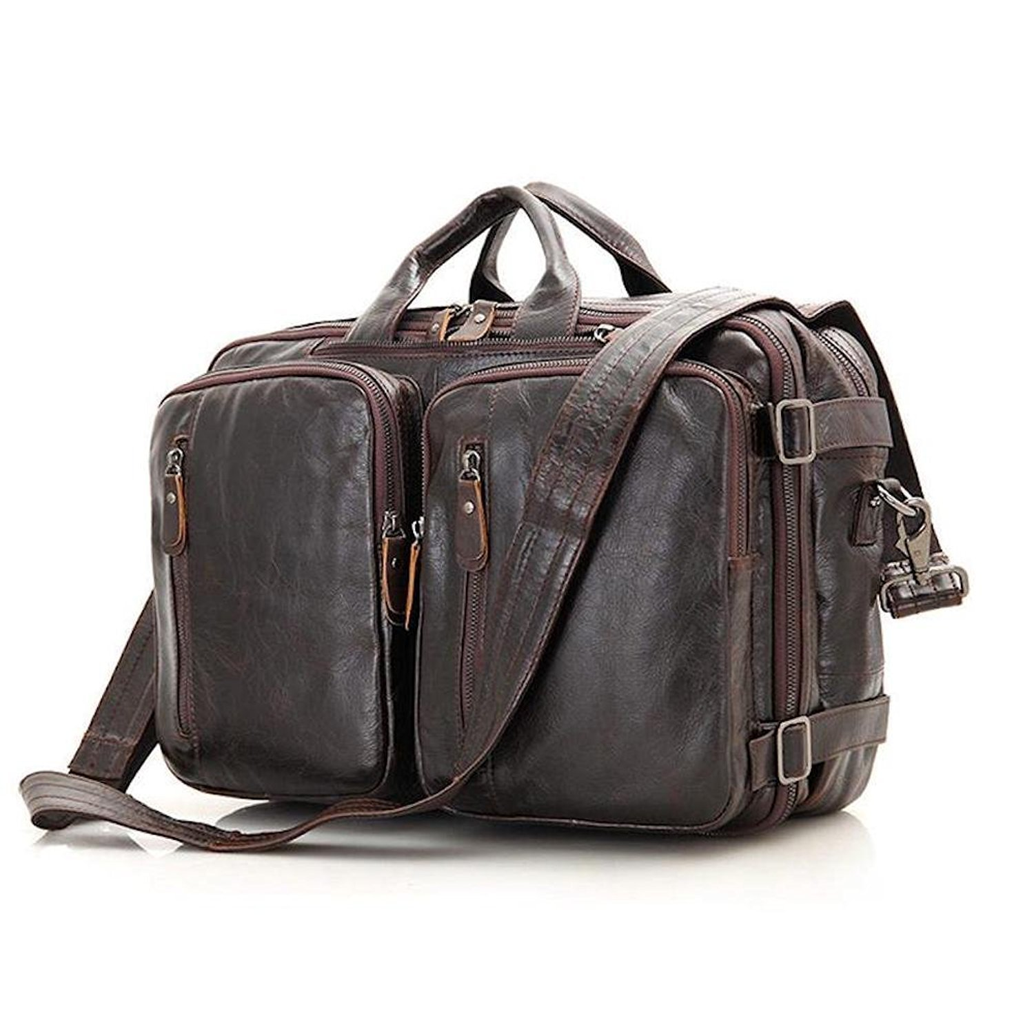 Clean Vintage Hybrid Backpack Messenger Bag / Convertible Briefcase Backpack BookBag Daypack-Tanned Leather, Brown