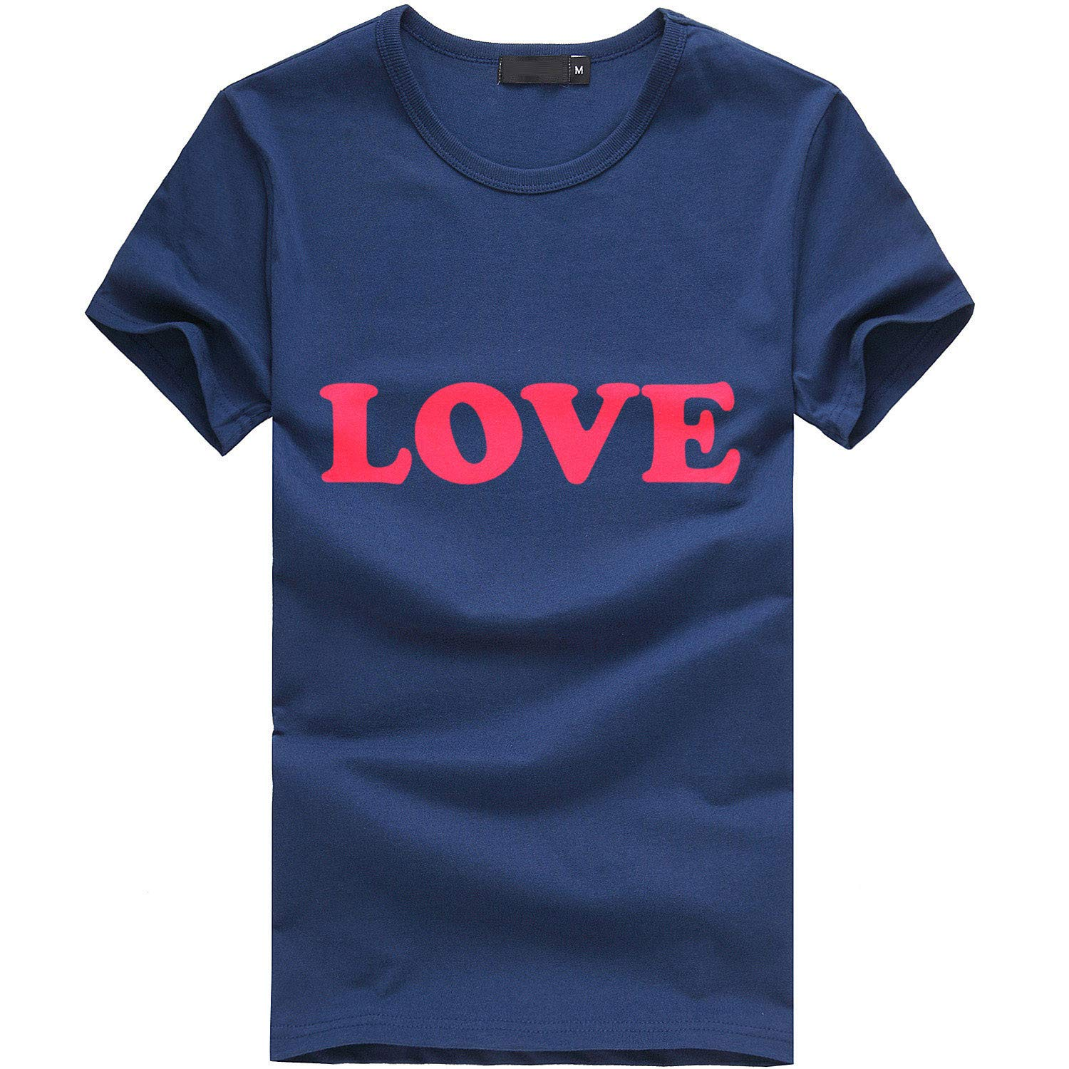 minjiSF Women's Summer Love Print Tee Short Sleeve Round Neck Loose Tops Casual Blouse T-Shirt Plus Size Navy