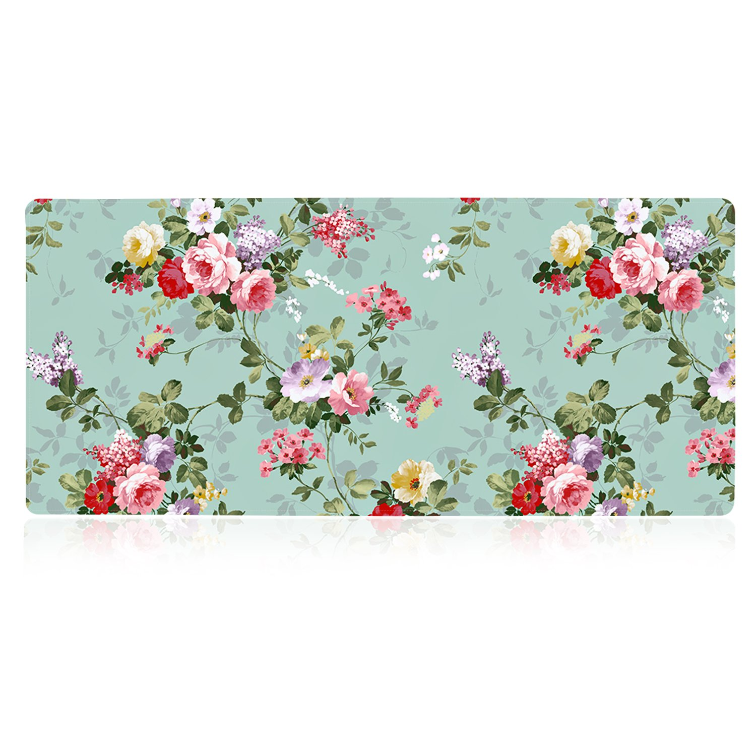 iLeadon Extended Gaming Mouse Pad - Non-Slip Water-Resistant Rubber Base Computer Keyboard Mouse Mat, 35.1 x 15.75-inch 2.5mm Thick XX-Large, Ideal Partner for Work & Game, Green Pink Rose