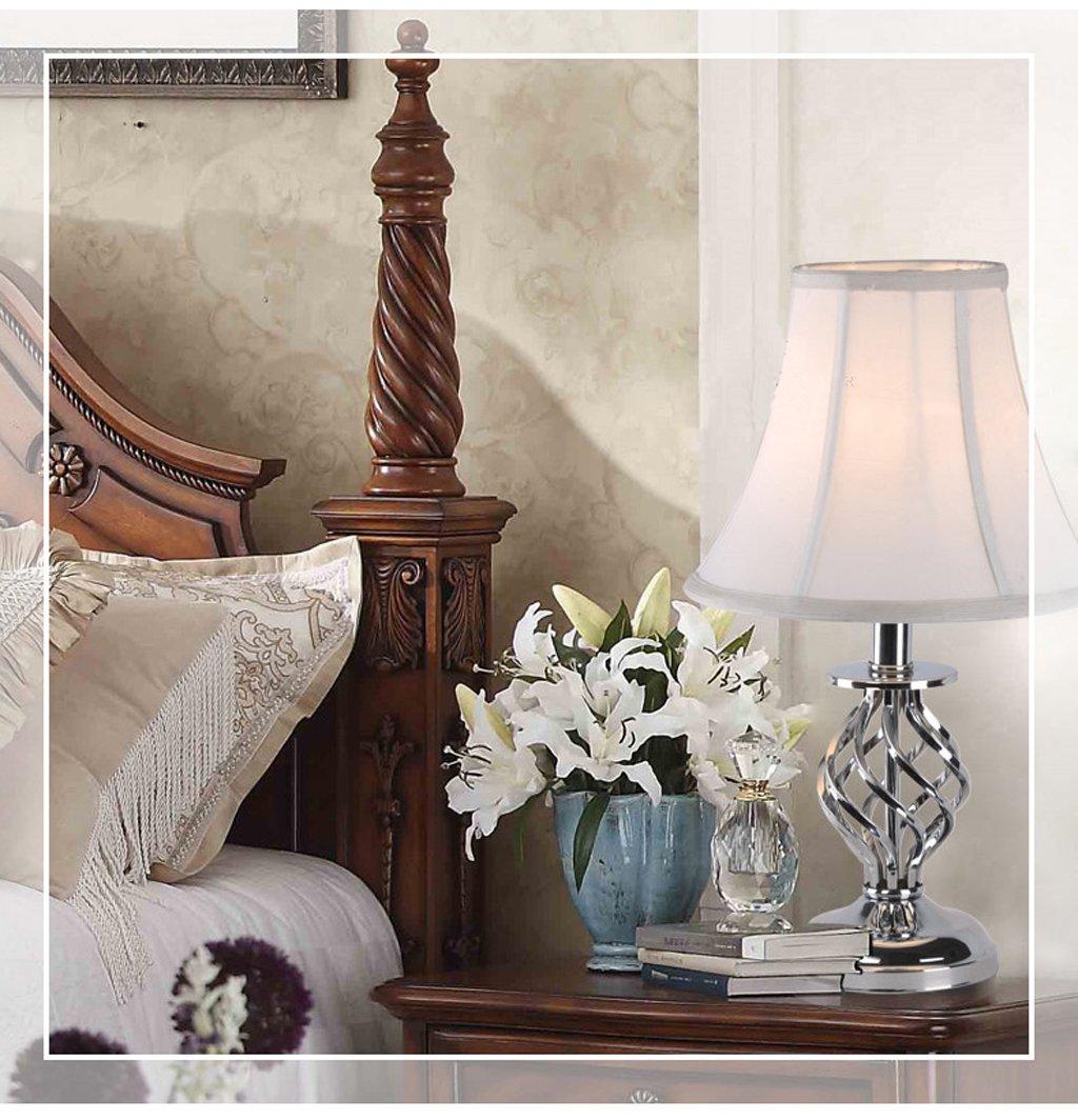 DLewiee Continental Eisen Kreative Rotation Nachttischlampe Beleuchtung Einfache Und Elegante weiße Lampion