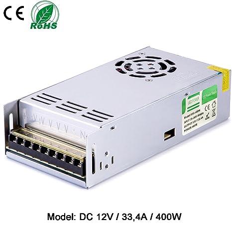 Liqoo Transformador LED Driver 33.4A 400W Transformador 220V a 12V Trafo Eléctrico Fuente de Alimentación