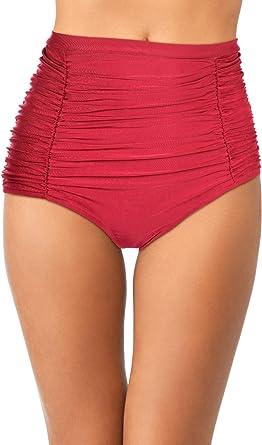 Womens Retro Swim Bottoms High Waist Ruched Bikini Bottom Tankini Swimsuit Shorts for Vocations