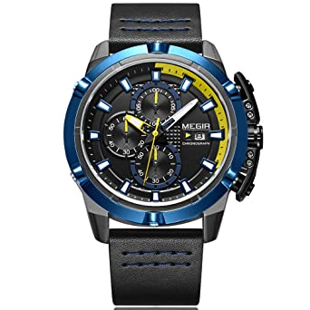Megir Mens Chronograph Quartz Wrist Watches Leather Army Sports Stop Watch Man 2062 Blue