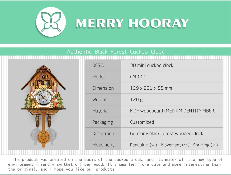 TOOGOO Horloge Murale Coucou Antique en Bois Cloche DOiseau Montre DAlarme Balan?Oire D/éCorations pour la Maison 001