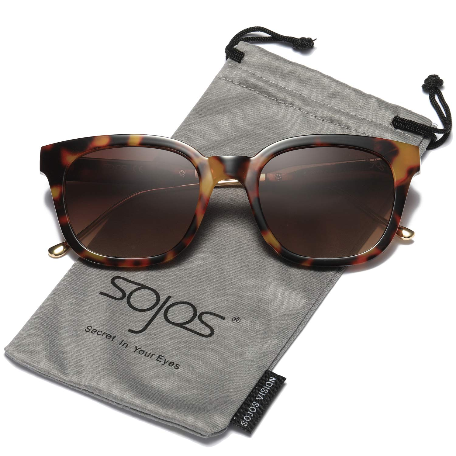 SOJOS Vintage Polarized Sunlgasses Womens Mens Square Frame Mirrored Lens SJ2050 SJ2027 SJ2029 with Tortoise Frame/Brown Polarized Lens/ by SOJOS