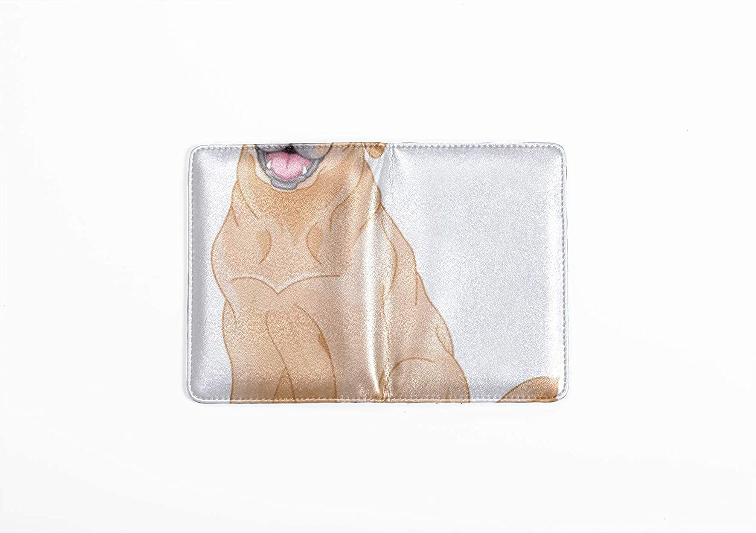 Passport Leather Cover Cute Yellow Smile Pet Golden Retriever Passport Cases For Kids Multi Purpose Print Leotruny Passport Holder Cover Travel Wallets For Unisex 5.51x4.37 Inch
