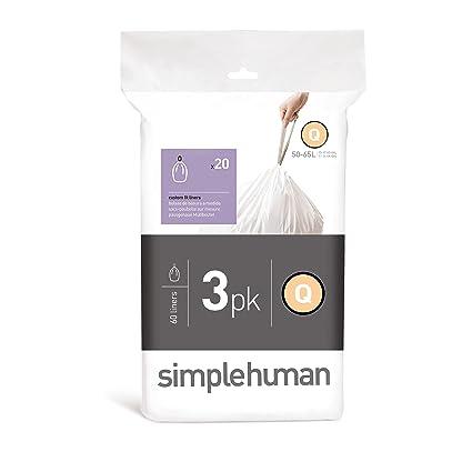 Amazon.com: simplehuman Code Q Custom Fit Trash Can Liner, 3 ...