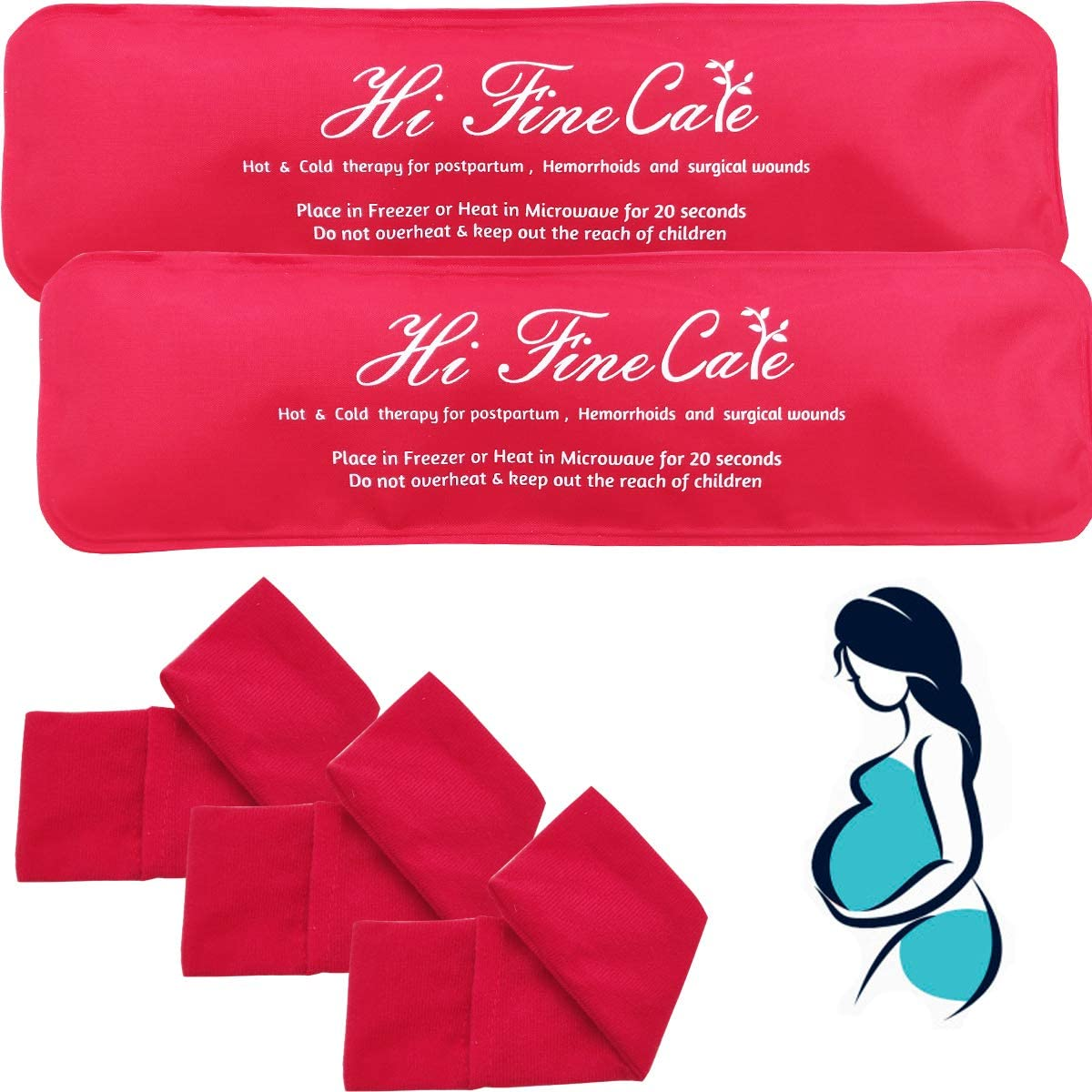 Reusable Perineal Cooling Pad for Postpartum & Hemorrhoid Pain Relief, Hot & Cold Packs for Women After Pregnancy and Delivery, Pack of 2 Gel Pads Plus 3 Washable Sleeves (red)