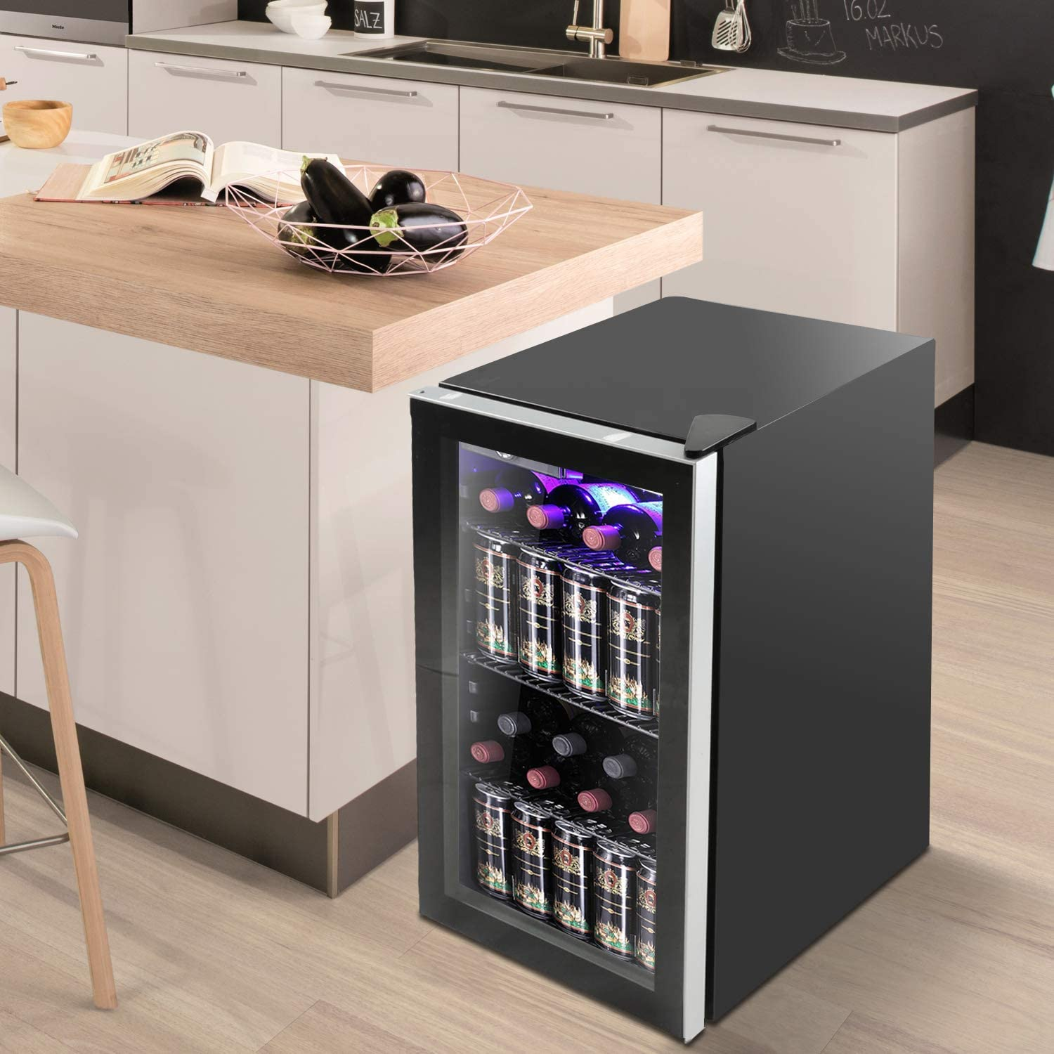 Bossin 26 Bottle Wine Cooler Counter Top Wine Cellar Bar FridgeQuiet Operation Compressor Wine Cellar Freestanding Counter Top Wine Chiller- Cabinet Refrigerator